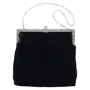 Platinum, Pearl, Diamond and Black Velvet Evening Bag