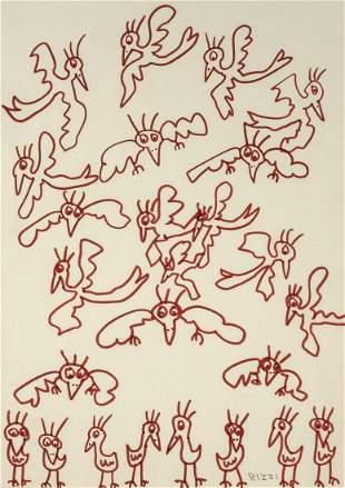 James Rizzi American, 1950-2011 Flamingo Flock