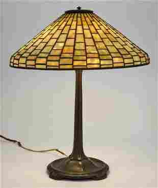 Tiffany Studios Bronze and Leaded Glass Geometric Table