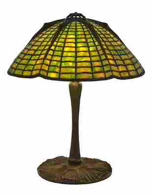Tiffany Studios Bronze and Leaded Glass Spider Table