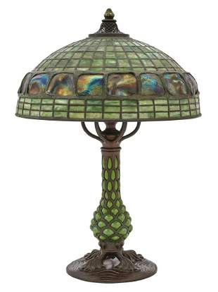 Tiffany Studios Reticulated Bronze and Leaded Glass