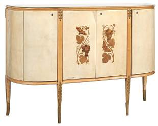 Italian Modern Marquetry Inlaid Pearwood, Sycamore,