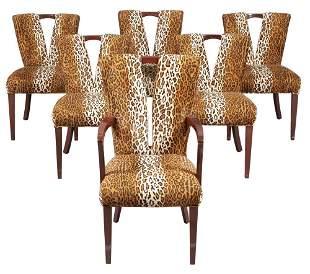 Set of Six Paul Frankl Upholstered Mahogany Corset
