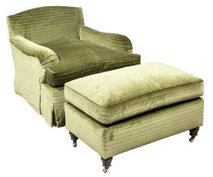Pair of Upholstered Club Chairs and Ottomans