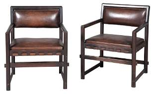 Pair of Edward Wormley Leather Upholstered Dark Stained