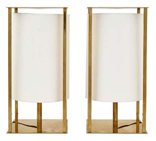 Pair of Christian Liaigre Lacquered Brass Finish Metal