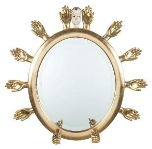 Pedro Friedeberg Gilt and Painted Wood Mirror