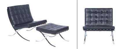 Pair of Leather and Chromed Meal Barcelona Chairs and