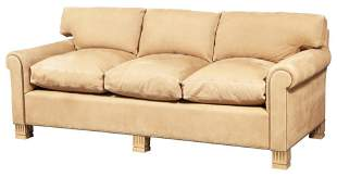 Contemporary Suede Upholstered Sofa