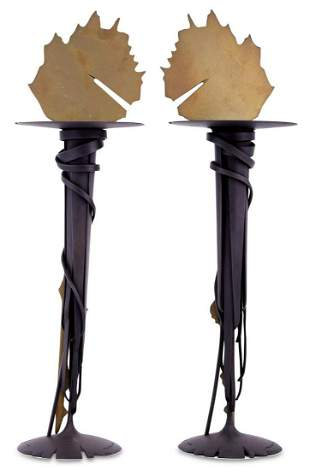 Two Albert Paley Blackened Forged Steel and Polished