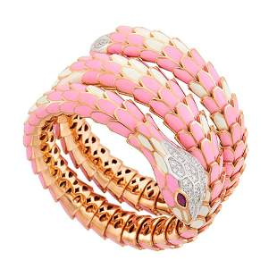 Rose Gold-Plated Sterling Silver, White Gold, Pink and
