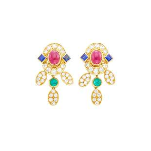 Pair of Gold, Cabochon Ruby, Emerald, Sapphire and