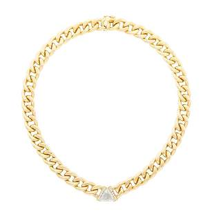 Gold, Laser-Drilled Diamond and Diamond Curb Link