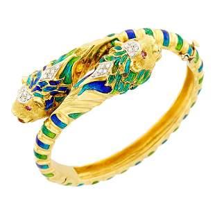 Gold, Enamel and Diamond Chimera Crossover Bangle