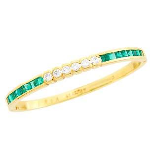 Gold, Diamond and Emerald Bangle Bracelet