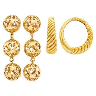 Pair of Gold Ball Pendant-Earclips and Pair of Gold