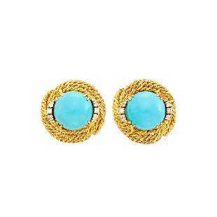 Pair of Gold, Turquoise and Diamond Earclips
