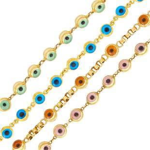 Four Gold and Glass Bead Bracelets