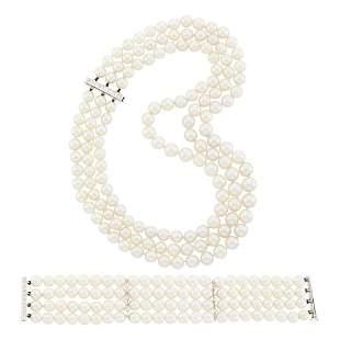 Triple Strand Cultured Pearl, White Gold and Diamond