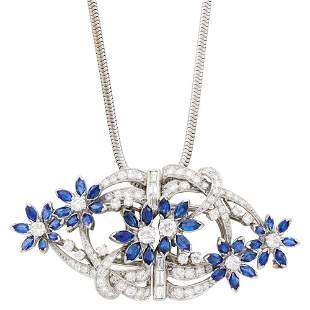 Platinum, Sapphire and Diamond Double-Clip Brooch with