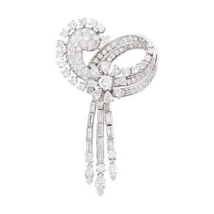 Platinum and Diamond Bow Fringe Pendant-Brooch