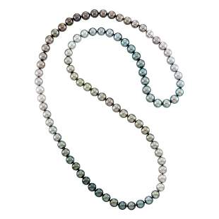 Long Tahitian Gray Cultured Pearl Necklace with White