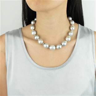 Semi-Baroque Gray Cultured Pearl Necklace with Gold