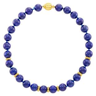 Seaman Schepps Lapis and Gold Bead Necklace