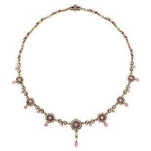 Antique Silver, Gold, Ruby and Diamond Necklace