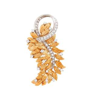 Two-Color Gold and Diamond Leaf Brooch