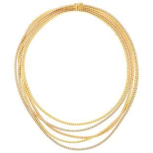 Five Strand Tricolor Gold Necklace