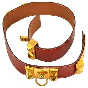 Hermès Paris Brown Leather and Gilt-Metal 'Collier
