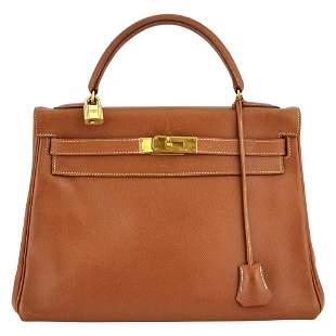 Hermès Caramel Togo Leather 'Kelly' Sellier 32 Bag