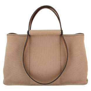 Hermès Paris Taupe Canvas and Leather 'Cabag' Tote