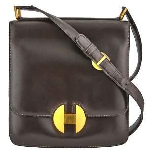Hermès Paris Brown Leather Satchel Bag