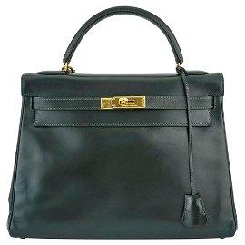 Hermès Green Box Leather 'Kelly' Sellier 32 Bag