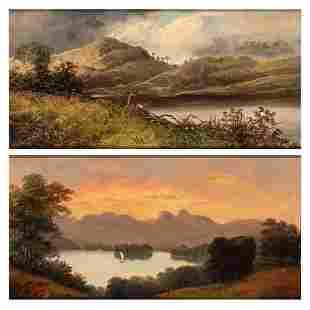 British School 19th Century (i) Landscape at Sunset