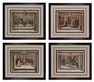 Artist Unknown [EQUESTRIAN SCENES] Four hand-colored