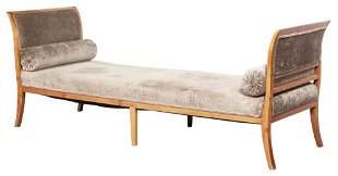 Biedermeier Velvet-Upholstered Fruitwood Daybed
