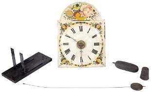 German Painted Wood Wall Clock