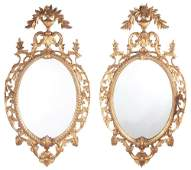 Pair of George III Style Giltwood Oval Mirrors
