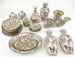 Group of Chinese Rose Medallion Porcelain Articles