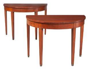 Pair of George III Style Mahogany Demilune Consoles
