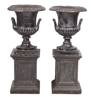 Pair of Cast Iron Campagna-Form Garden Urns; Together