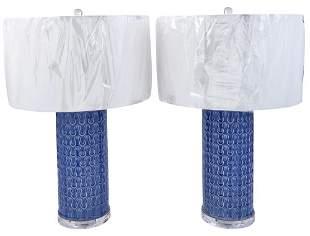 Pair of Contemporary Design Blue Glazed Ceramic