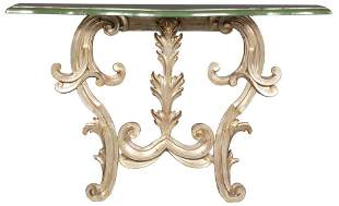 Italian Rococo Style Green-Painted and Silvered Wood