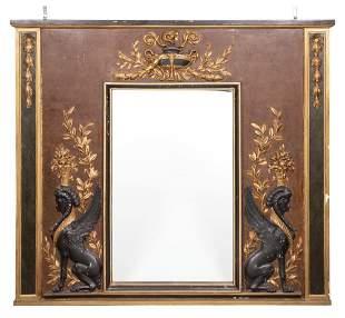 Louis XVI Style Painted Wood Overmantel Mirror