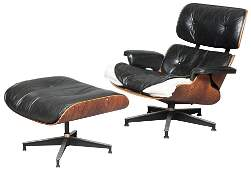 Charles and Ray Eames Black Leather Upholstered