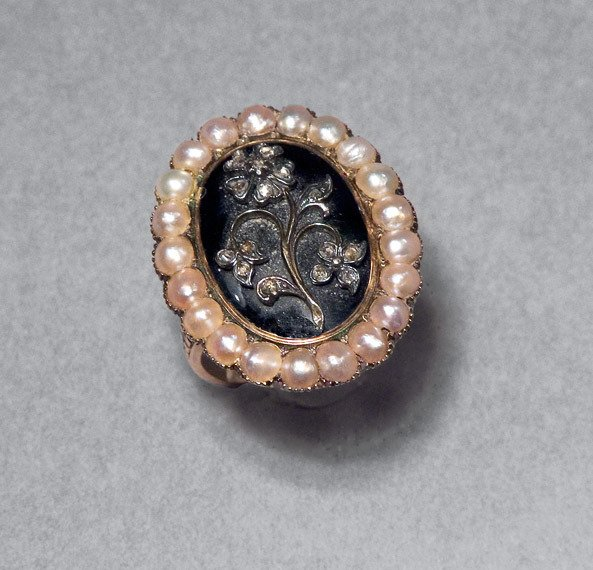 3: Antique Diamond, Enamel & Split Pearl Ring