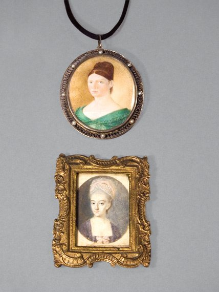 19: Two Antique Portrait Miniature Pendants